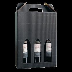 Sort vinkarton til 3 vine